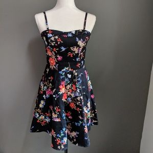 Express Black Floral Fit and Flare Mini Dress